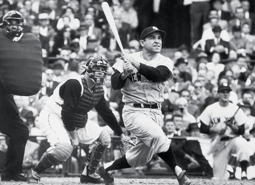 Yogi Berra hitting a home run in the 1960 World Series.  Neil Leifer/SI