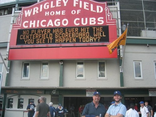 My dad (left) and me at Wrigley Field in 2006.